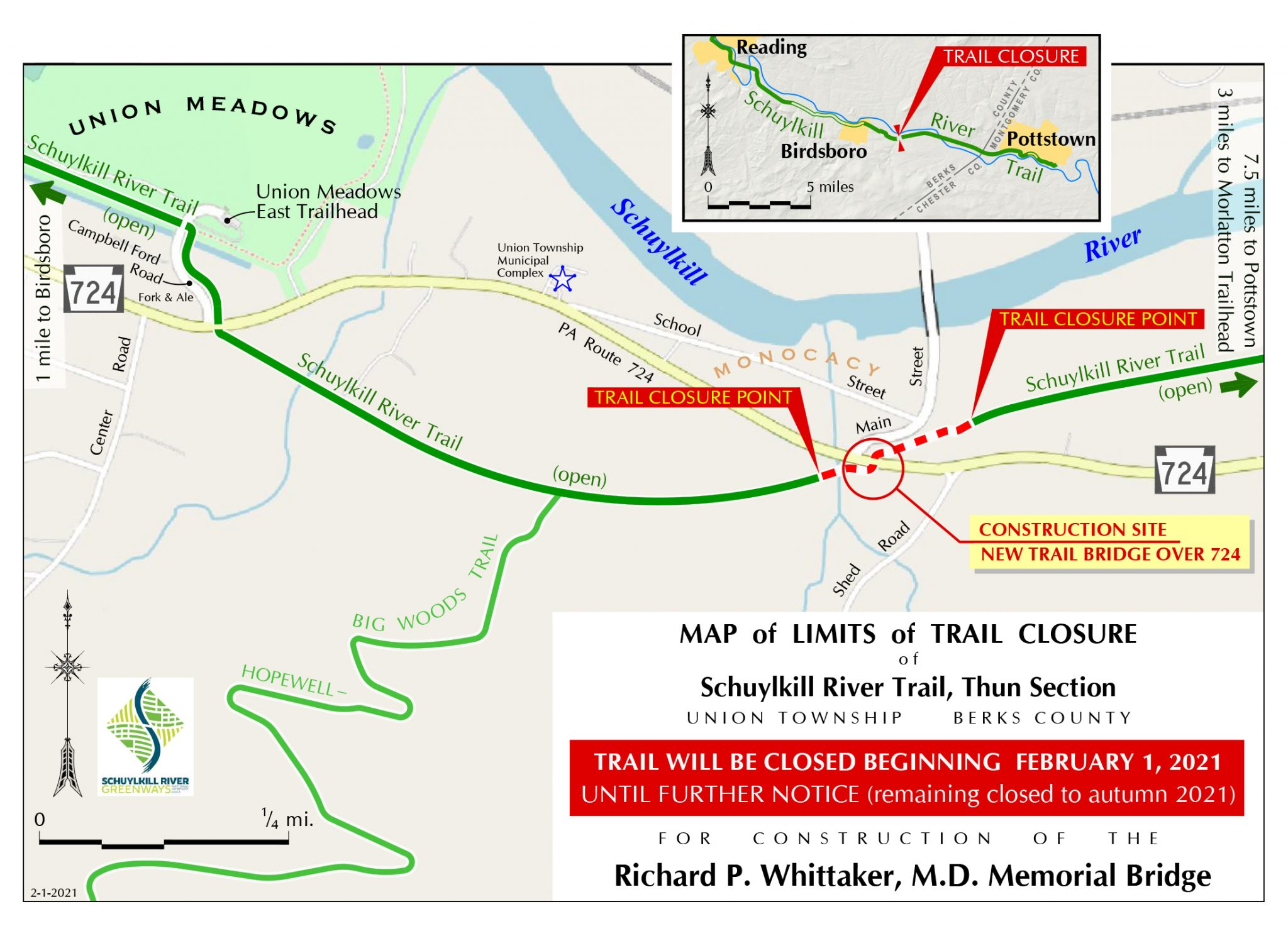 Whittaker Bridge Construction Closure Map